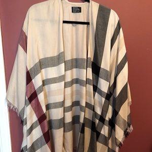 Plaid print kimono